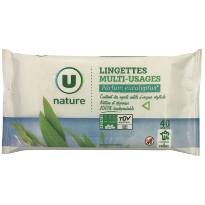 Lingettes multi-usages eucalyptus U NATURE, x40