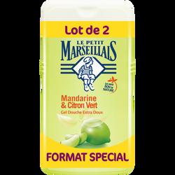 Gel douche crème extra doux parfum mandarine et citron vert LE PETIT MARSEILLAIS, 2 flacons de 250ml