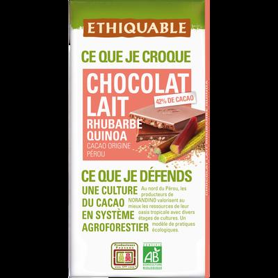 Tablette de chocolat au lait 42% rhubarbe et quinoa Bio ETHIQUABLE, 100g