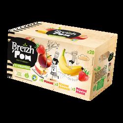 Desserts fruits allégée pomme&pomme fraise, pomme banane, BREIZH'POM20x90g