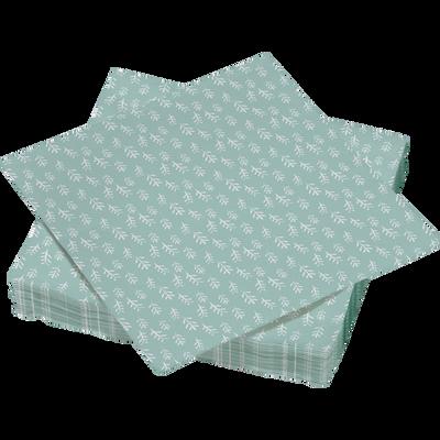 Serviettes U MAISON, 3 plis, en papier, 33x33cm, semis vert, 30 unités