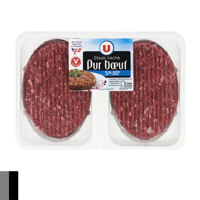 Steak haché, 5% MAT.GR., U, France, 2 pièces, 260g