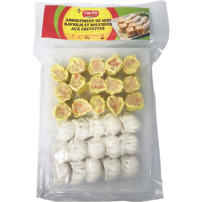 Mix mini bouchées + raviolis aux crevettes CAUTRE, 30 pièces, soit 450g