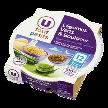 Assiette soir légumes verts et boulghour U TOUT PETITS, dès 12mois, 230g