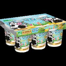 Yaourt à boire Bio sucré à la vanille LES 2 VACHES, 6x100g