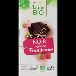 Tablette de chocolat noir et à la framboise & équitable JARDIN BIO,  100g