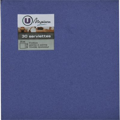 Serviettess U MAISON, tex touch, 33x32cm, bleu vif, 30 unités
