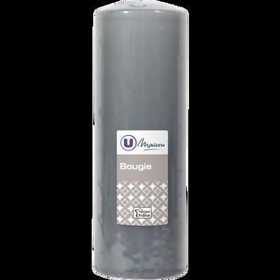 Bougie U MAISON, non parfumée, 68x195mm, grise