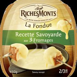 Fondue pasteurisé recette savoyarde RICHES MONTS, 28%mg, sachet 450G