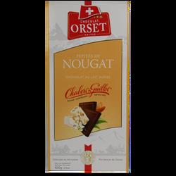 Tablette de chocolat au lait et pépites de nougat ORSET, 100g