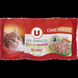 Emincé de sauce pour chat à l'agneau, dinde, haricot vert et lapin, volaile, carotte, boeu, foie et carotte U, 3 unités, 400g