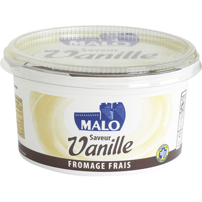 Fromage frais sucré arôme naturel de vanille, MALO, 40% de MG, pot de500g