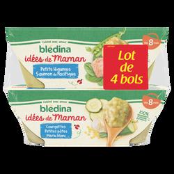 Les Idées de Maman Bols pour bébé courgettes riz, veau et fines herbesBLEDINA, dès 8 mois, 2x200g