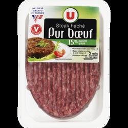 Steak haché, 15% MAT.GR., U, France, VBF, 100% muscle, 1 pièce, 125g