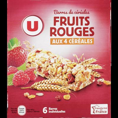 Barre de céréales fruits rouges U, boîte de 126g