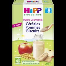 Céréales Bio pommes biscuits HIPP, dès 8 mois, boîte 250g