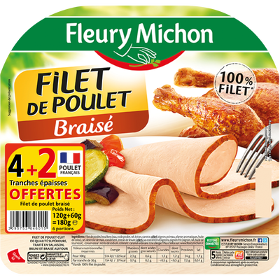 Filet poulet braisé FLEURY MICHON, 4 tranches + 2 offertes soit 180g