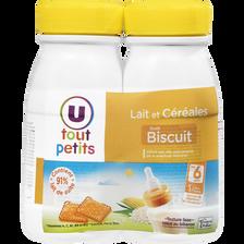 Lait et céréales goût biscuit U TOUT PETITS, 2 bouteilles de 250ml