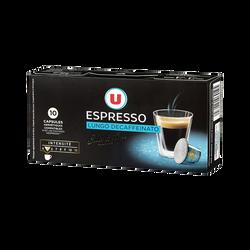 Café espresso lungo décaféiné U, 10 capsules, 52g
