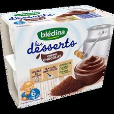 Les lactés crème chocolat dès 6 mois BLEDINA, 4 coupelles de 100g