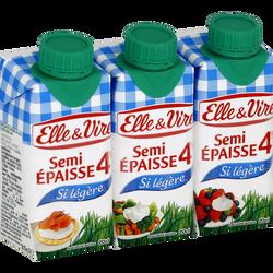 Spécialité laitière semi-épaisse si légère 4% de matière grasse UHT ELLE &VIRE, 3 briques de 20cl