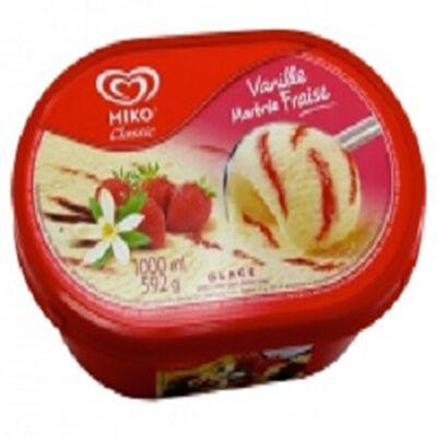 Glace vanille marbrée fraise, MIKO, 1l