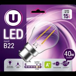 Ampoule LED PREMIUM U, mini ronde 40w B22, verre filament, transparente, lumière chaude