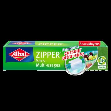 Albal Sacs Zipper Multi-usages Fond Plat Moyen Modèle Albal, 8 X 3 Litres