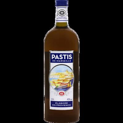 Pastis de Marseille U, 45°, bouteille de 1,5l
