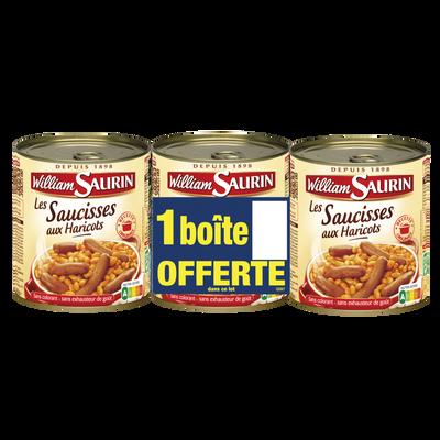 Saucisses haricots gourmande WILLIAM SAURIN, x2 +1 offert soit 2,52kg