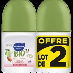 Deodorant lait d'amande bio MONSAVON bille 2x50ml