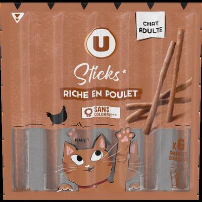 Sticks pour chat riches en viandes U, sachet de 6 x5g soit 30g