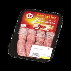 Assortiment mini saucisses à griller U, France, 8 pièces, barquette, 320g