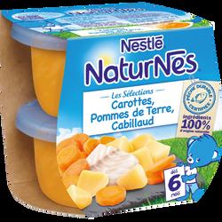 Séléction carottes pomme de terre cabillaud dès 6 mois NATURNES, 2X200G