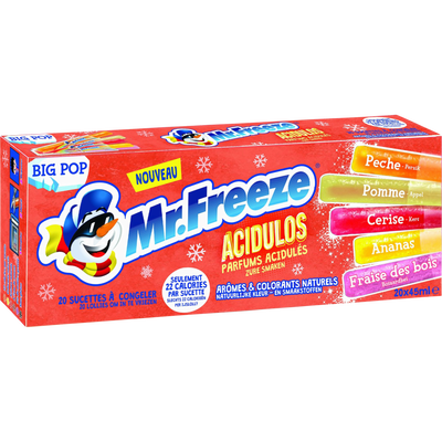 Sucettes à glacer big pop acidulos MR FREEZE, boîte de 20 bâtonnets de45ml