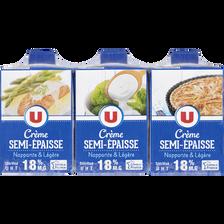 Crème légère semi-épaisse UHT U, 18%MG , 3x20cl
