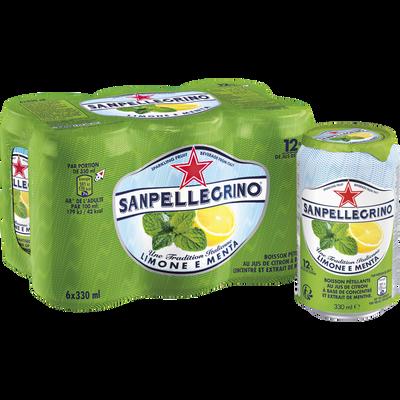 Boisson gazeuse aromatisée jus de citron et menthe SAN PELLEGRINO, 6x33cl
