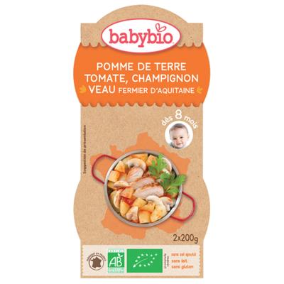 Bol Pomme de terre Tomate Champignon Veau BABYIO dès 8 mois 2x200g