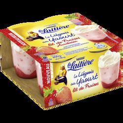 Liégeois au yaourt sur lit de fraises LA LAITIERE, 4x100g