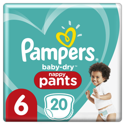 Couches baby dry pants PAMPERS 13-18kg taille 6 paquet x20