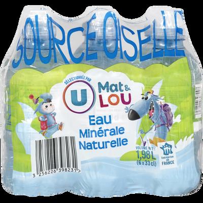 Eau minérale naturelle source Oiselle U MAT ET LOU, 6x33cl