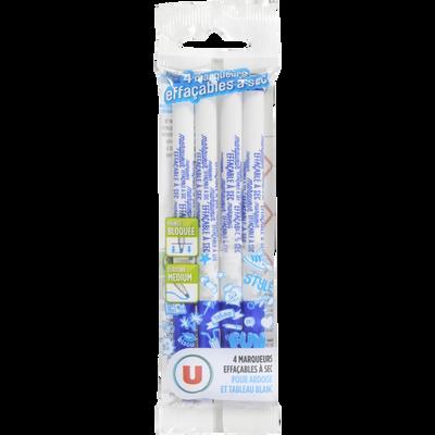 Feutres effaçables à sec U, bleu, pack de 4