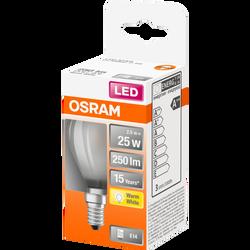 Ampoule led LED OSRAM sphérique 25W culot E14 blanc chaud