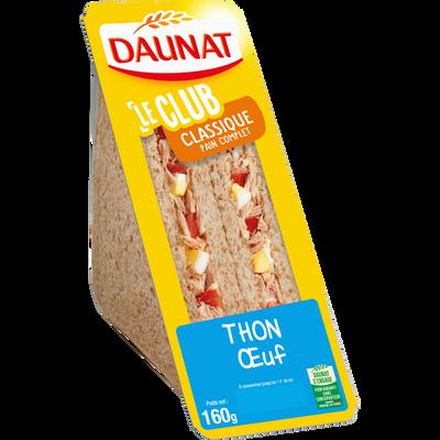 Sandwich Le Club classique pain complet thon et oeuf DAUNAT, 160g