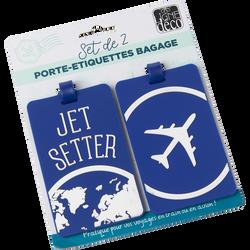 Set de 2 étiquettes pour valise en silicone 10,5x6,5cm-sur carte