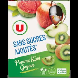 Gourdes pomme kiwi goyave sans sucre ajouté U, 4x120g
