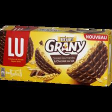 Biscuits aux céréales gourmandes & chocolat au lait GRANY LU, 195g