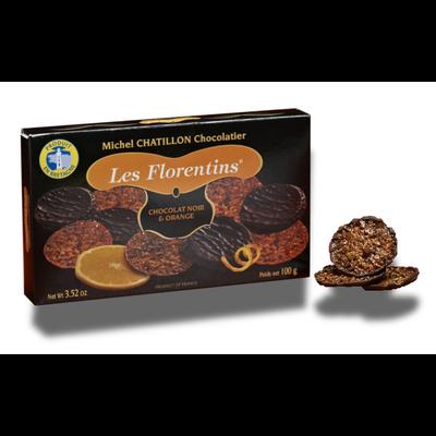 Biscuits florentins orange et chocolat noir, CHATILLON CHOCOLATIER, étui de 100g