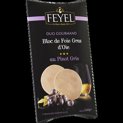 Bloc foie gras d'oie au pinot gris mi-cuit FEYEL, étui 2 tranches de 40g soit 80g