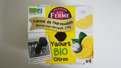 Yaourt sucré aromatisé au citron - 4x125g - La Ferme de l'Airvaudais